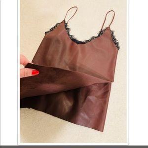 Zara Knit Faux Leather Lace Trim Tank Top S
